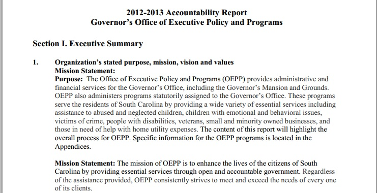 South Carolina Governor's Office of Executive Policy and Programs (OEPP)