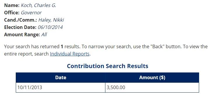 nikki haley koch public sector donations 2